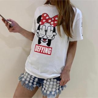 男女兼用  FUCK悪ミニーちゃん Tシャツ(白)(Tシャツ/カットソー(半袖/袖なし))