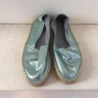 ザラ(ZARA)のZARA ) ザラ エスパドリーユ メタリック グリーン 緑 37 靴(スニーカー)