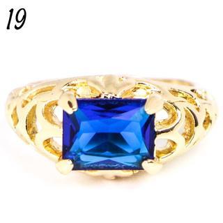 G10 リング 19号 人工石 サファイア ゴールド 大きいサイズ(リング(指輪))