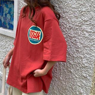 ❤️オーバーサイズトップス  milkロゴ❤️aaa73(Tシャツ(半袖/袖なし))