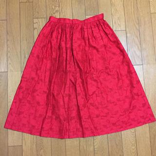 スカート 膝丈スカート 赤 花柄 レース 刺繍 春服 夏服(ひざ丈スカート)