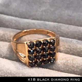 リング 18金 ブラック ダイヤ k18 天然 ブラック  ダイヤモンド ピンク(リング(指輪))