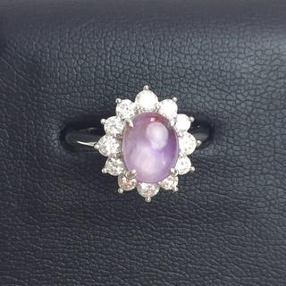 PT900 スターサファイア ×ダイヤモンド リング 12号 新品仕上げ(リング(指輪))