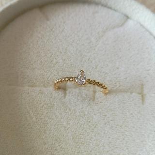 k18 ペアシェイプダイヤモンド 一粒ダイヤリング 0.11ct