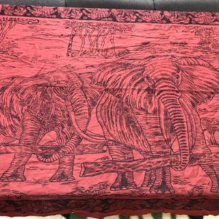インド綿 サロン 象 フリンジ付き ビーチ タペストリー ソファカバー 赤(ソファカバー)