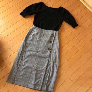 ジーユー(GU)のGU ♡ グレンチェックスカート(ロングスカート)