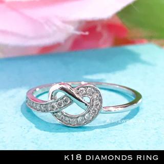 リング 18金 ダイヤ k18 天然 ダイヤモンド リング ホワイトゴールド(リング(指輪))