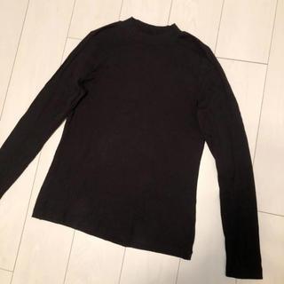 ユニクロ(UNIQLO)のUNIQLO ハイネック リブ カットソー 黒無地(Tシャツ(長袖/七分))
