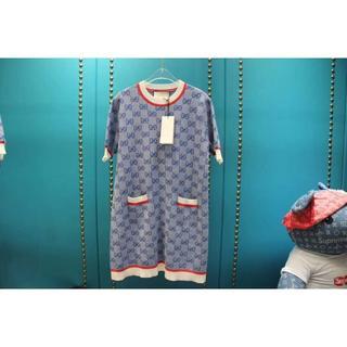 グッチ(Gucci)のGUCCI★ホワイト&レッドトリム ブルーGGニット 半袖 ワンピース(ひざ丈ワンピース)
