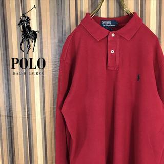 POLO RALPH LAUREN - ポロ ラルフローレン ワンポイントロゴ刺繍 ポロシャツ 長袖 ラガーシャツ L