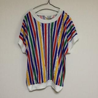 古着 ビンテージ BLAIR ストライプ Tシャツ レインボー マルチカラー (Tシャツ/カットソー(半袖/袖なし))