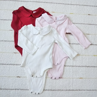 babyGAP 丸襟ロンパース 赤白ピンク 3枚 70