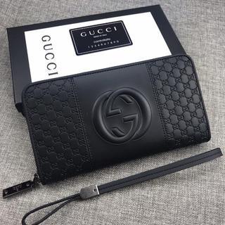 グッチ(Gucci)のGUCCIモノグラム クラッチバッグ 黒(セカンドバッグ/クラッチバッグ)