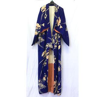 グリモワール(Grimoire)の美品【 vintage 着物 】 アンティーク着物 青色 着物ガウン 羽織り(着物)
