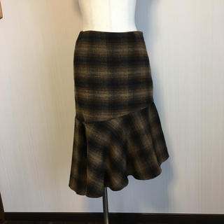 ジーユー(GU)のイレギュラーヘムウールスカート♡ブラウンチェック(ひざ丈スカート)