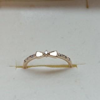 カナルヨンドシー(canal4℃)の正規品 カナル4℃ k10 YG ダイヤモンド 7P リボン リング 3号(リング(指輪))