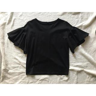 UNIQLO - ユニクロ UNIQLO マーセライズコットンフレアスリーブTシャツ  ブラック