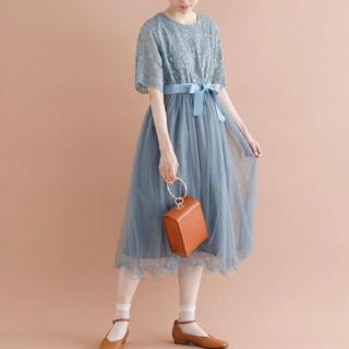 merlot - merlot plus ウエストリボン レース切替 チュール ドレス ワンピース