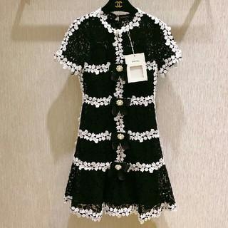 シャネル(CHANEL)の美品CHANEL 真珠 黒いレース  マーメイドスカート  ワンピース 36(ミニワンピース)