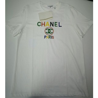 シャネル(CHANEL)のシャネル tシャツ 白 虹色ロゴ シンプル XL 男女兼用(Tシャツ/カットソー(半袖/袖なし))
