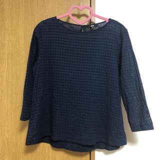 ユニクロ(UNIQLO)のユニクロ 紺色ブラウス  L(シャツ/ブラウス(長袖/七分))
