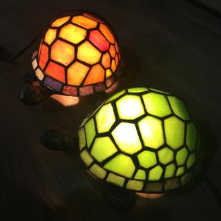 ステンドグラス ランプ 亀 アンティーク