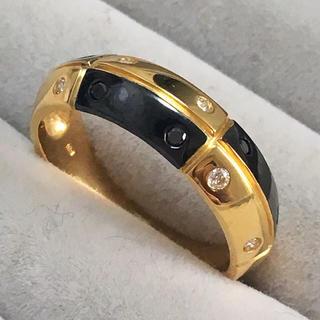 新品本物 K18イエローゴールド ダイヤモンド&ブラックダイヤモンドリング♪(リング(指輪))