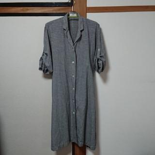 ユニクロ(UNIQLO)のUNIQLO コットンリネン ロングシャツ ワンピース Sサイズ(シャツ/ブラウス(長袖/七分))