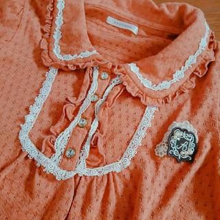 アクシーズファム(axes femme)のaxes femme アクシーズファム カットソー 半袖 襟付き M オレンジ(カットソー(半袖/袖なし))