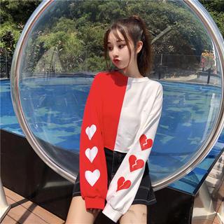 赤白ツートーン ハートマーク デザインTシャツ