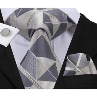 高級 ネクタイ ポケットチーフ カフス 3点セット B-0