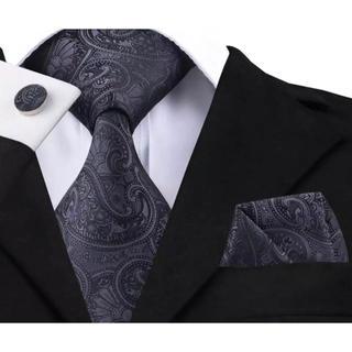 高級 ネクタイ ポケットチーフ カフス 3点セット B-1