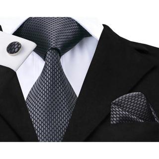 高級 ネクタイ ポケットチーフ カフス 3点セット B-10