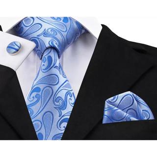 高級 ネクタイ ポケットチーフ カフス 3点セット C-2
