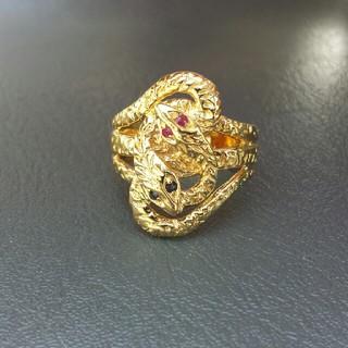 アンティーク風デザイン天然石ルビー×サファイア付きsilverスネークリング(リング(指輪))