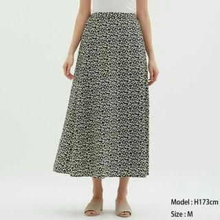 GU - GUフラワープリントフレアロングスカート
