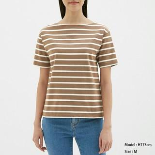 ジーユー(GU)のGUボーダーボートネックT(Tシャツ(半袖/袖なし))