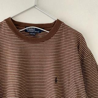 ラルフローレン(Ralph Lauren)の古着 90s  POLO Ralph Lauren  ボーダー 半袖Tシャツ 茶(Tシャツ/カットソー(半袖/袖なし))