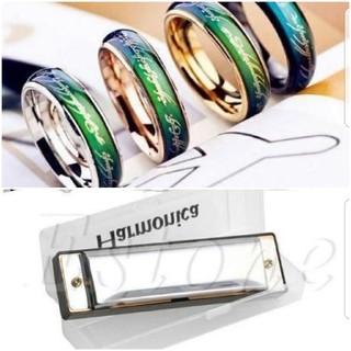ホラミロロン詩織推し様専用。ムードリングLOTRver銀21号、ハーモニカ(リング(指輪))