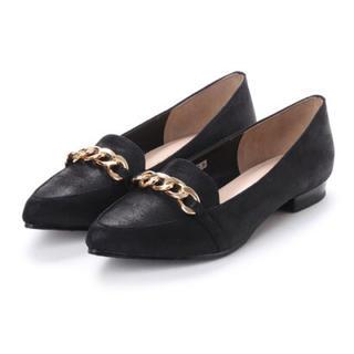 バニティービューティー(vanitybeauty)のVANITY BEAUTY チェーンビットローファー  フラットシューズ 黒(ローファー/革靴)