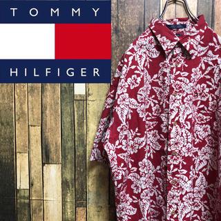 TOMMY HILFIGER - 【激レア】トミーヒルフィガー☆フラッグ刺繍ロゴボタニカル柄アロハシャツ 90s