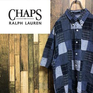 Ralph Lauren - 【激レア】チャップスラルフローレン☆ストライプチェックパッチワークシャツ 90s