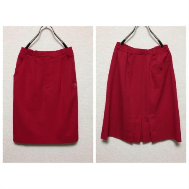 BURBERRY(バーバリー)のレアvintage BURBERRYバーバリー ワンポイント刺繍 赤スカート レディースのスカート(ひざ丈スカート)の商品写真