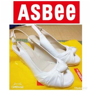 アスビー(ASBee)の新品未使用 ASBee アスビー サンダル ウィッジソール オープントゥ リボン(サンダル)