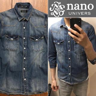 nano universデニムシャツ七分袖メンズ送料込