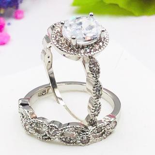 ☆13号スターリングダブル/ホワイトCZダイヤモンドリング2個セット(リング(指輪))