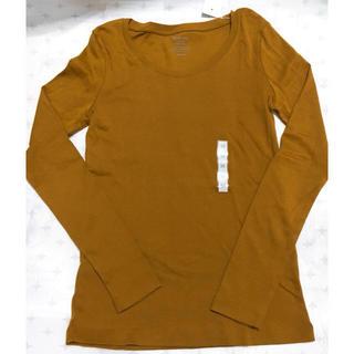 ユニクロ(UNIQLO)のジーユー GU クルーネック Tシャツ 長袖 ロンT マスタード M 新品 タグ(Tシャツ/カットソー(七分/長袖))
