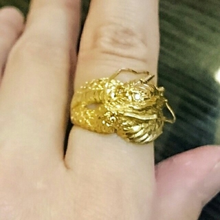 k18☆ドラゴンデザインリング☆ダイヤモンド付き(リング(指輪))