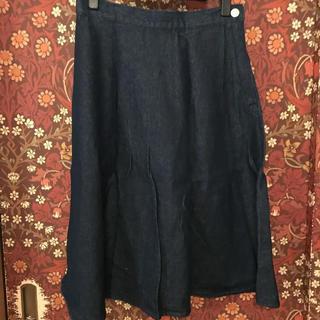 ジーユー(GU)の【GU】デニムミドルフレアスカート Lサイズ(ひざ丈スカート)