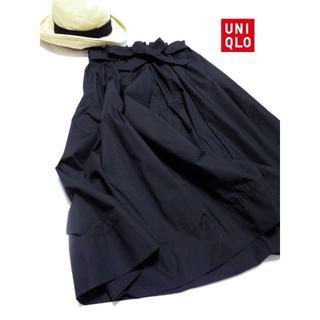 ユニクロ(UNIQLO)の◆UNIQLO/ユニクロ◆L 未使用品♪ハイウエストツイル素材スカート(ロングスカート)